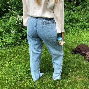 Vintage 80s high Waist Jeans Pleated Acid Wash
